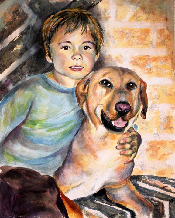 logan & skittles final painting